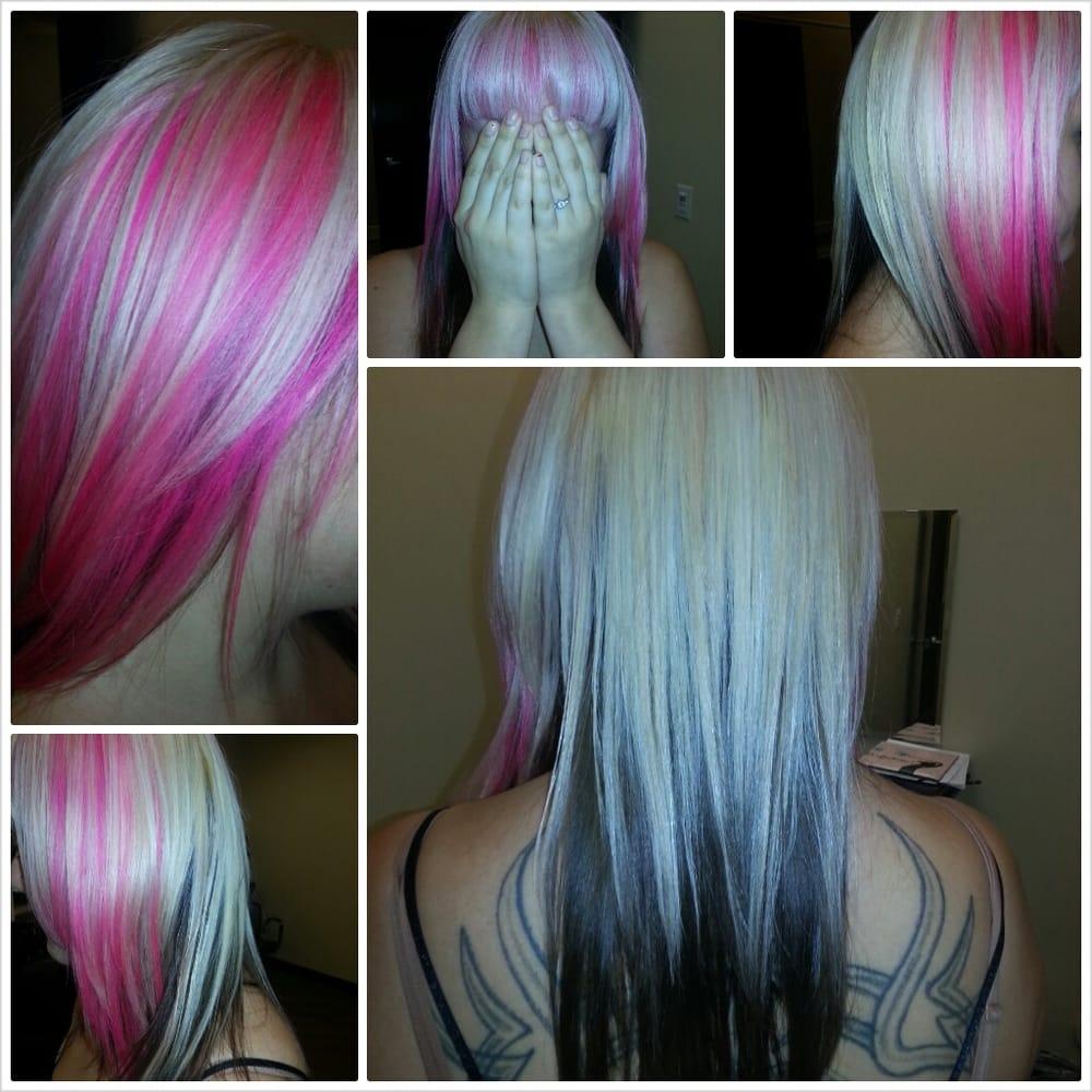 Top half black bottom half blonde hair