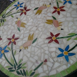 Beautiful mosaic tables outside