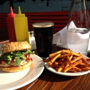 The bulldog salmon burger, sweet potato fries and a stout draw