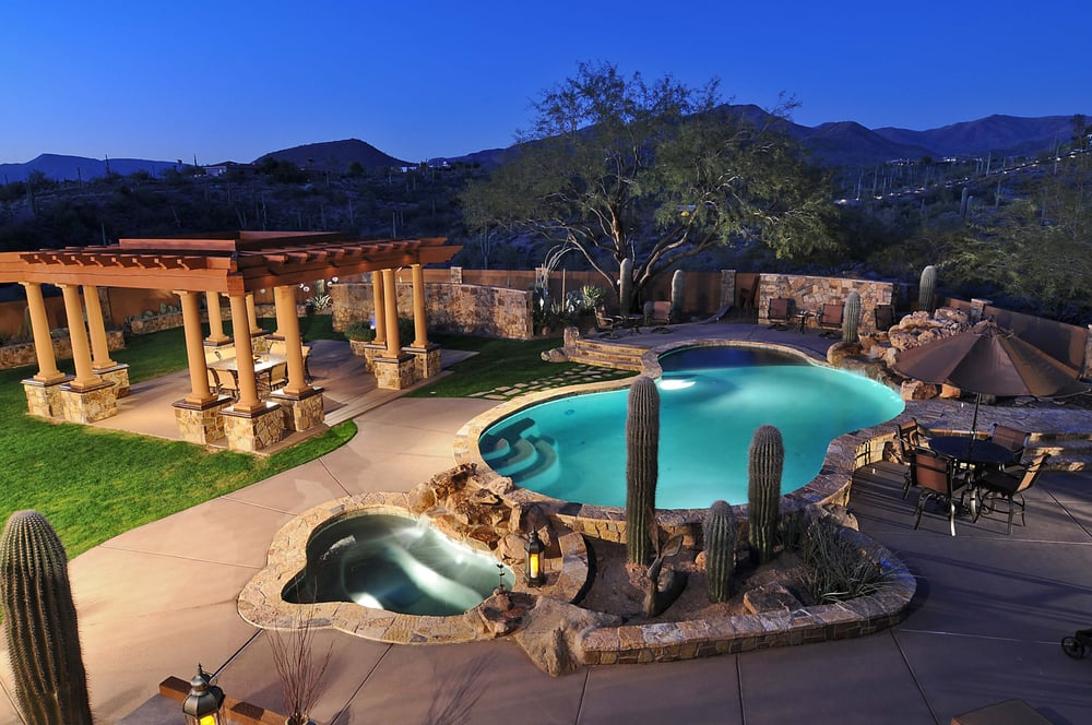 A desert oasis brings the resort to your backyard yelp for Garden oases pool