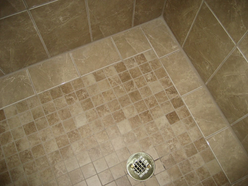 2x2 Porcelain Tile Mosaic With Boarder Shower Pan