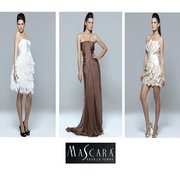 Mascara Collection : from left to right - Ivory Feathered Dress £210, Chiffon Gown With Diamonte Chain £240, Beige Petal Mini