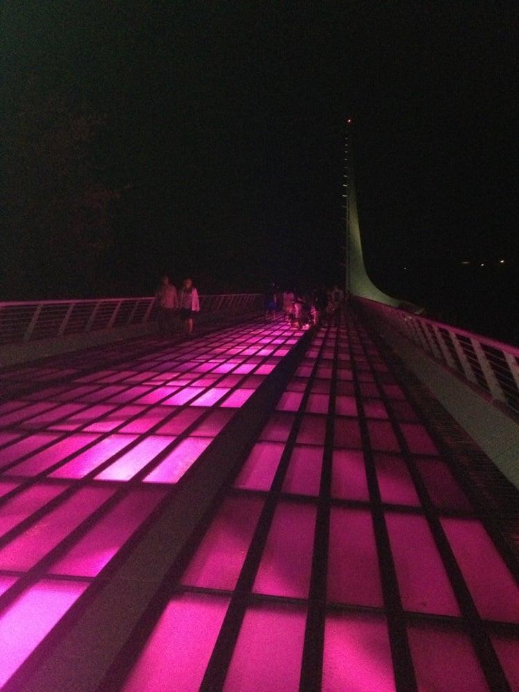 sundial bridge at night during breast cancer awareness yelp