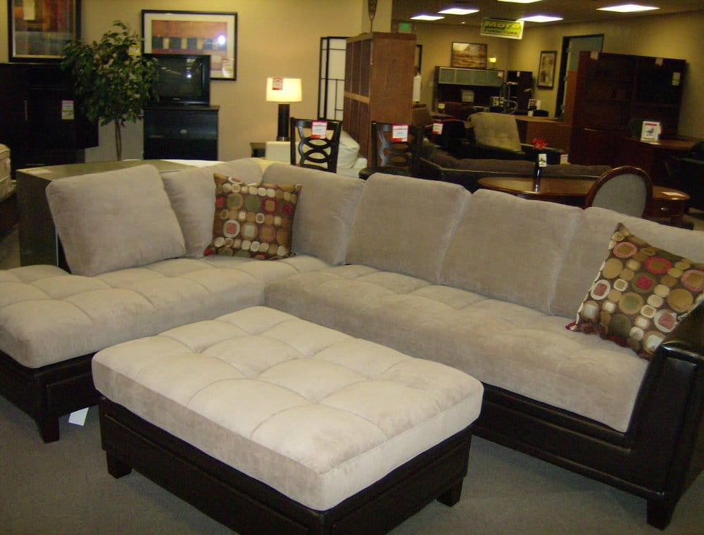 Sectional and ottoman available in 3 colors call for for Cort furniture clearance center