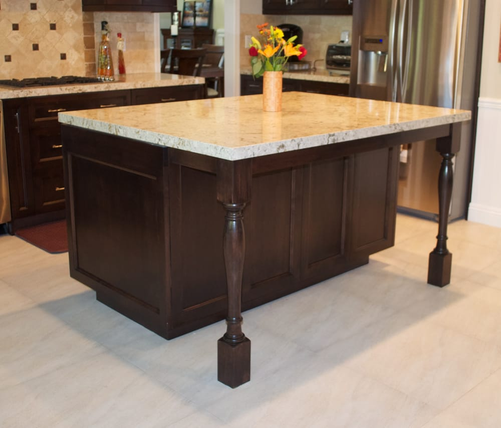 yorba linda kitchen island after photo. Turned legs design, with ...
