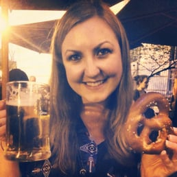Beer and pretzel (pretzel given before meal like a bread basket)