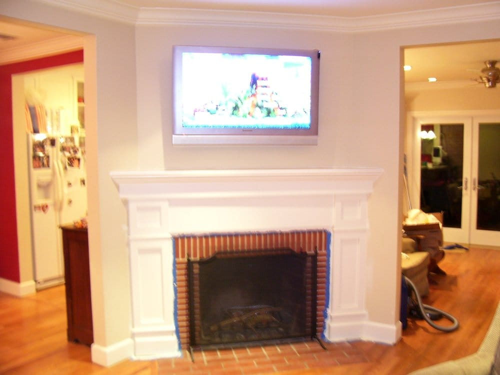 flat panel plasma tv installation over fireplace in topanga canyon ca