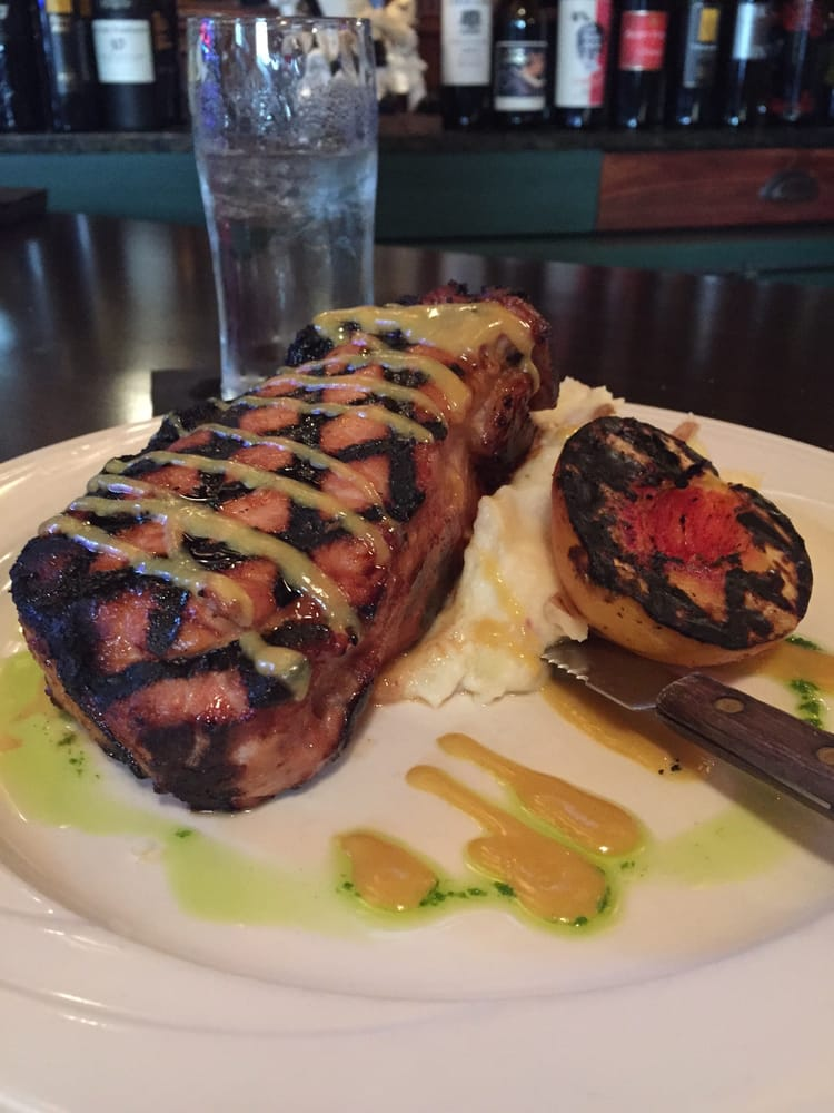 Pork Chop With Mashed Potatoes Amp A Grilled Peach