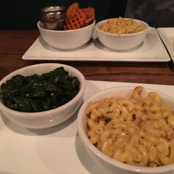 ... . Side orders! Garlic spinach, Mac and cheese and sweet potato fries