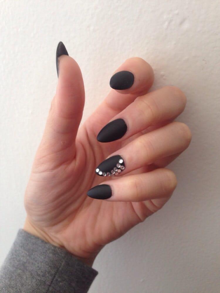 Matte Almond Nails Almond Shape Black Matte Coat