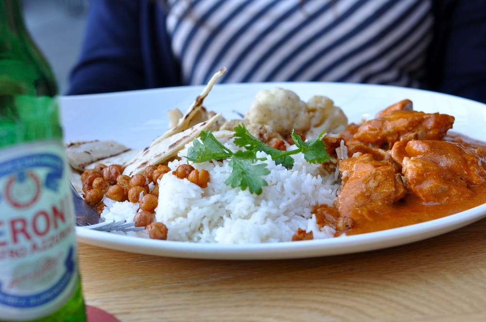 CHICKEN. Slow braised chicken, basmati rice, paneer, mango chutney