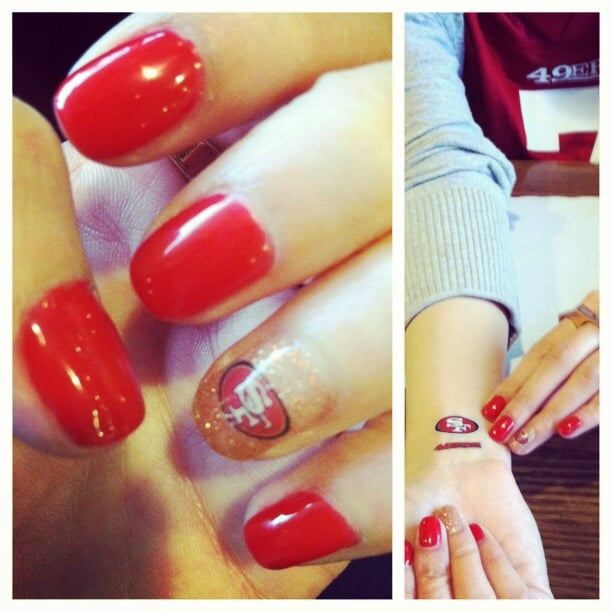 Red And Gold Shellac Nails Red And Gold Shellac