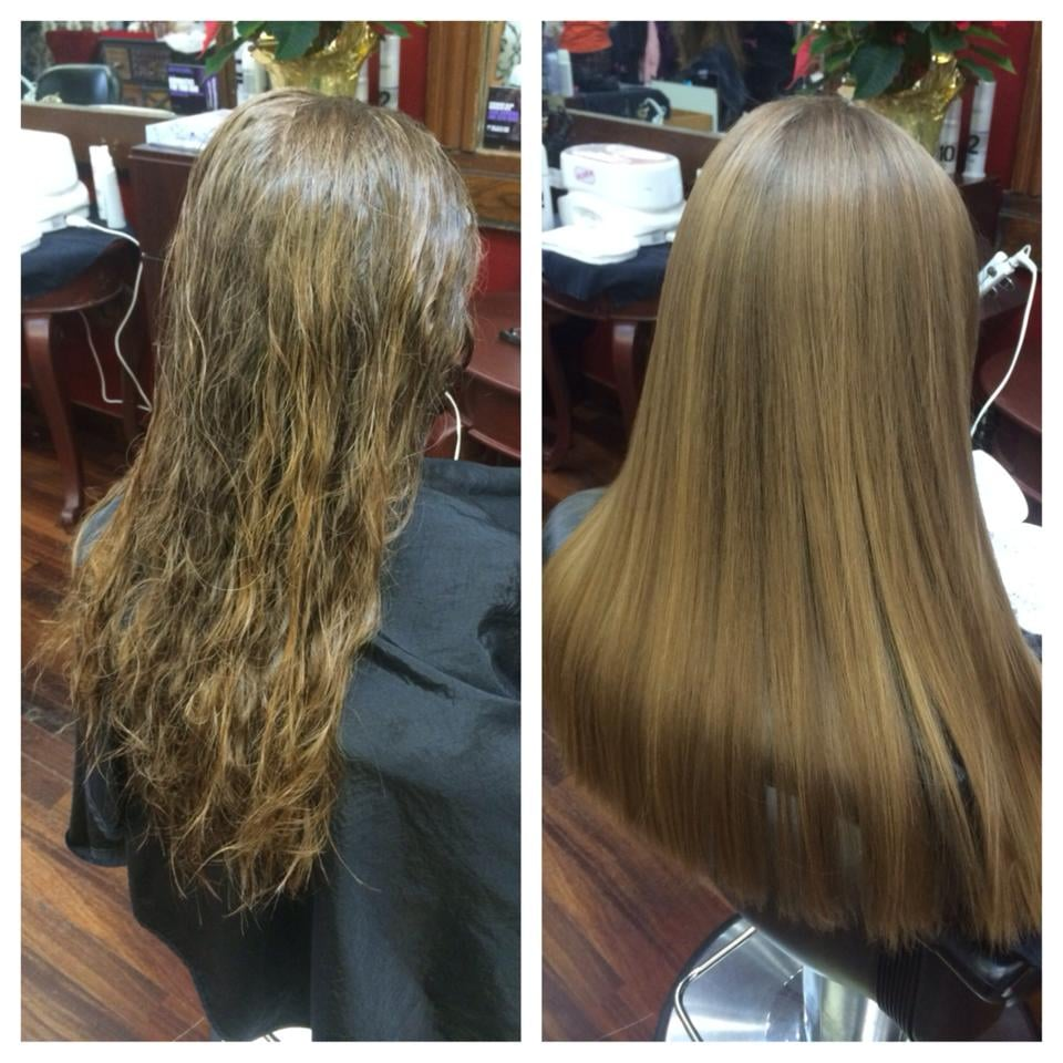 Gk keratin smoothing treatment done by our stylist for Salon kerat in