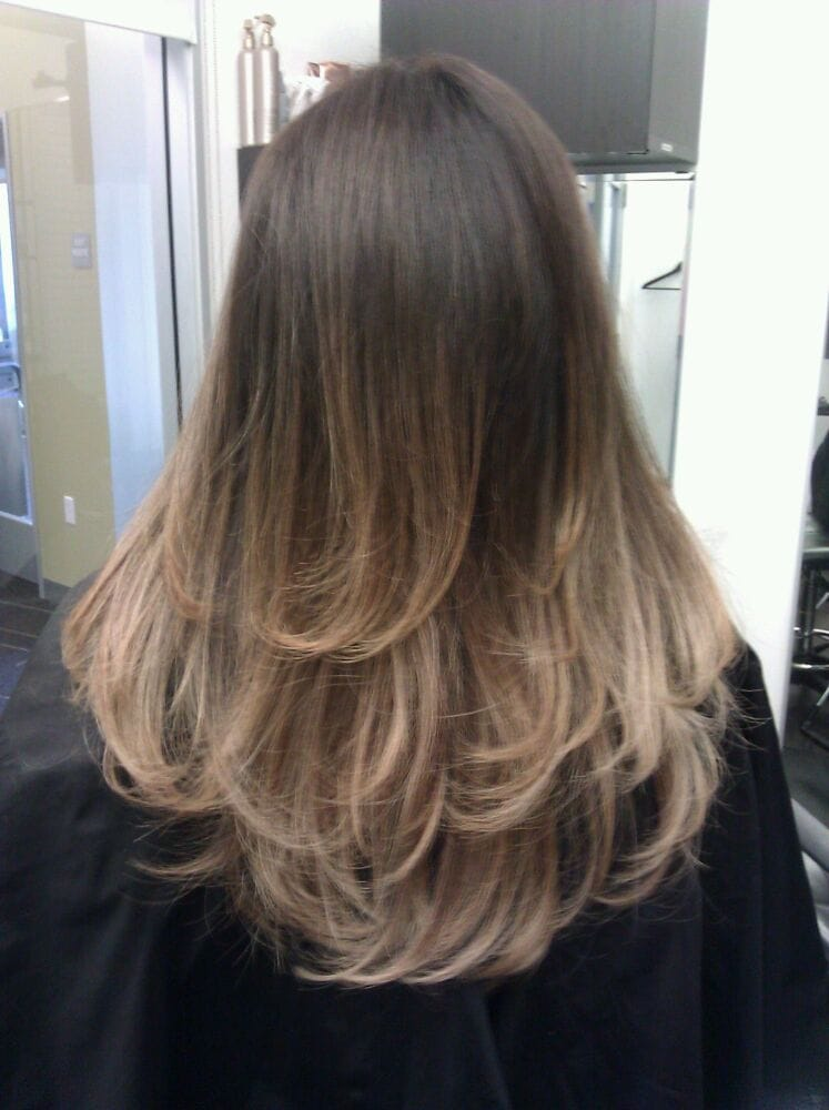 High contrast brown to pearl blonde ombre by guytang yelp - Blond braun ombre ...