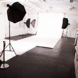 One of our largest studios, Studio 1 is a white cove and includes make up section, equipment and full bathroom