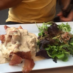 Forgot the name - it was ground beef steak with prosciutto and blue cheese sauce on top. Delicious!