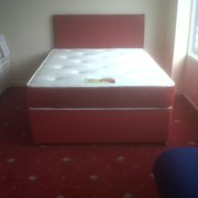 FAUX LEATHER DIVAN BEDS WITH 9-10 INCH MEMORY MATTRESS AND MATCHING HEADBOARD ... SINGLES £160.00 DOUBLES £199.99 AND KING