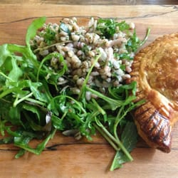 Ham and mushroom pastry and salad