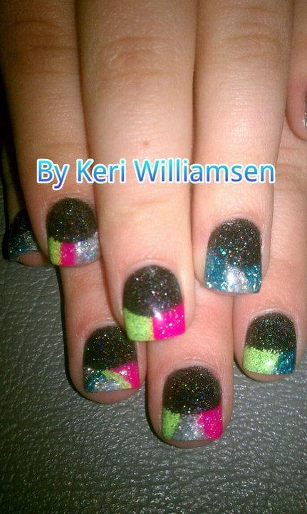 Multi-color Acrylic Nails With