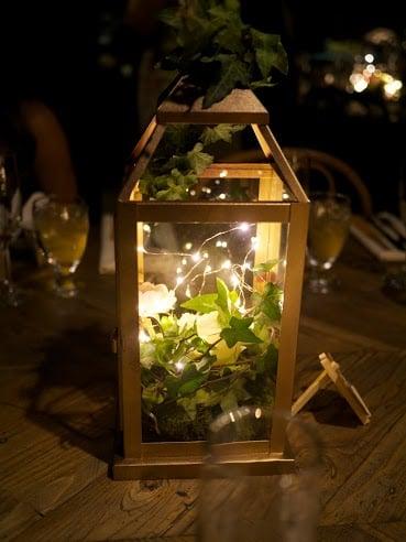 Gold lantern centerpieces