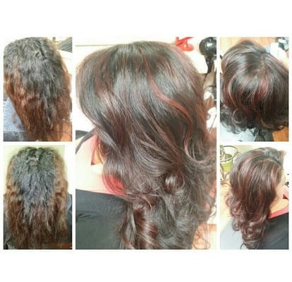 ... !! Jet black full color w/ red partial highlights. Cut & style | Yelp