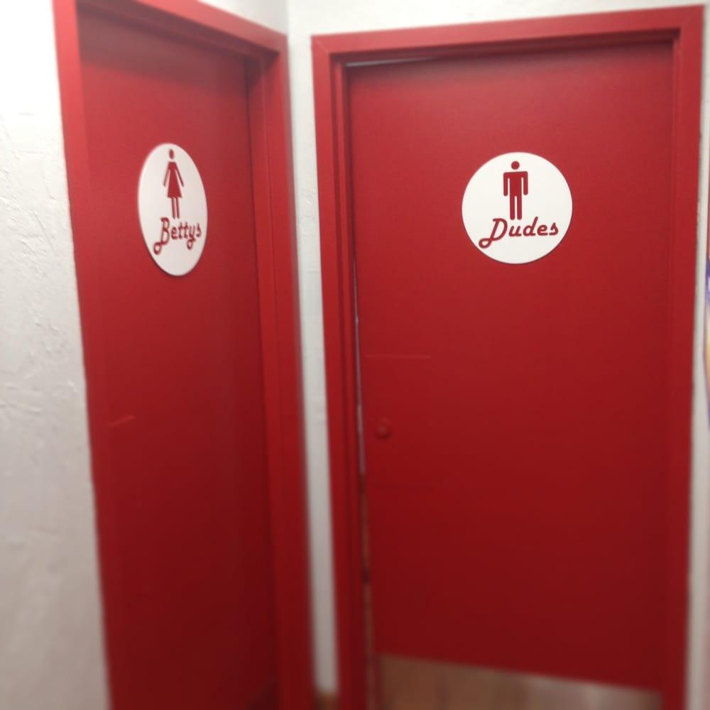 Cool restroom door signs yelp for Cool bathroom signs