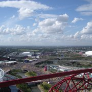 View of the crowds and the Olympic Park…