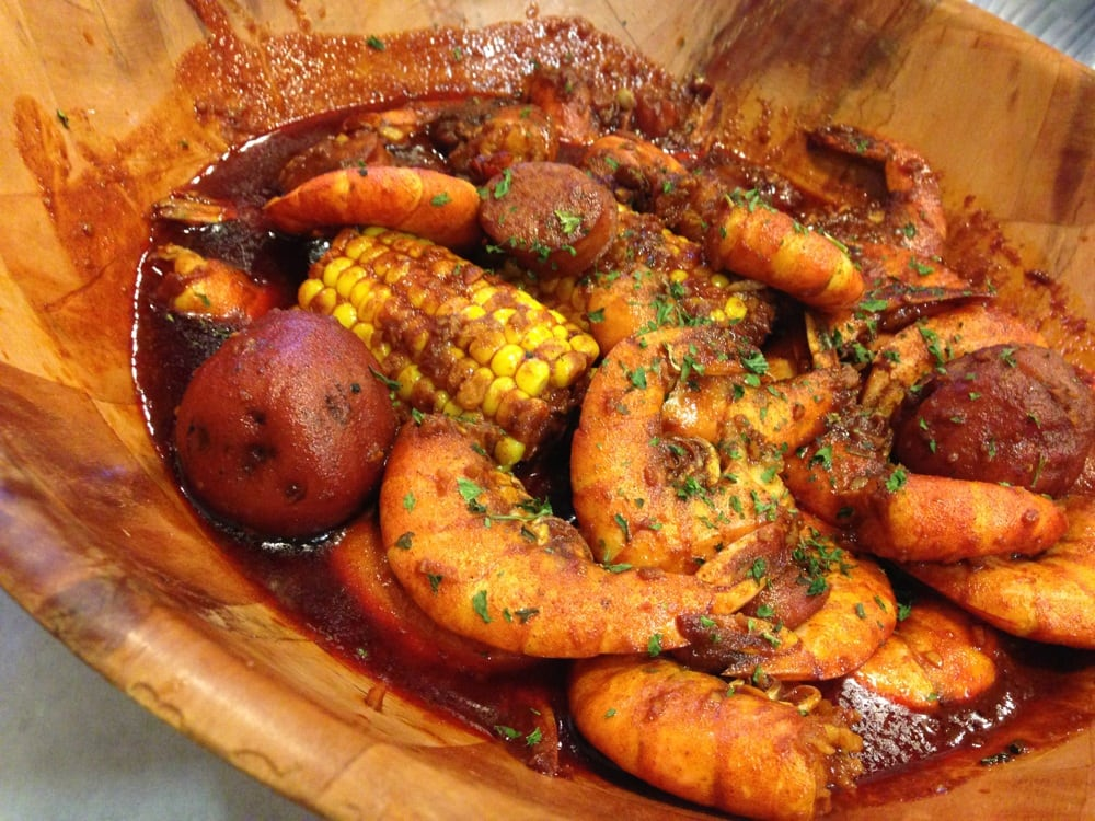 ... shrimp boil-- they add potatoes, sausage& corn if you order 2lbs or