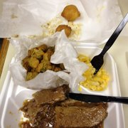 Brisket combo - $11.95 - with two sides (fried okra and mac and cheese) and hush puppies. Soft brisket.