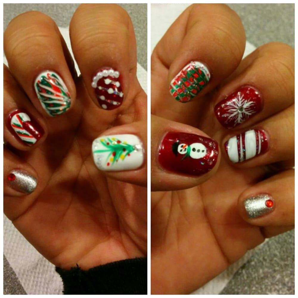 Fancy Nails - Natural nails. Shellac. Holiday hand painted design by