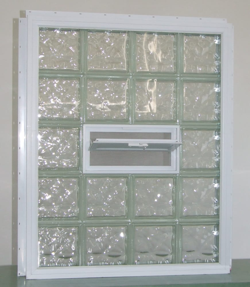 Glass block window with vinyl wrap and nail fin for new for Where to buy glass block windows