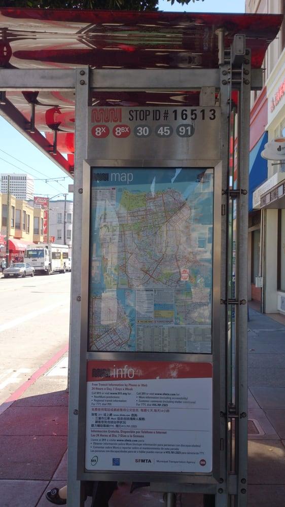 N Owl Muni San Francisco Bus Stop for routes 8X...