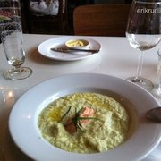Cucumber soup with a salmon mousse. Good stuff!