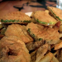 Pure Luck Restaurant - Los Angeles, CA, United States. Fried Pickles with Fries, YUM.