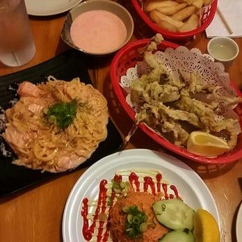 ... Mentai potato, salmon yakisoba, squid tempura and spicy tuna tartare