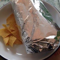 A burrito with tortillas