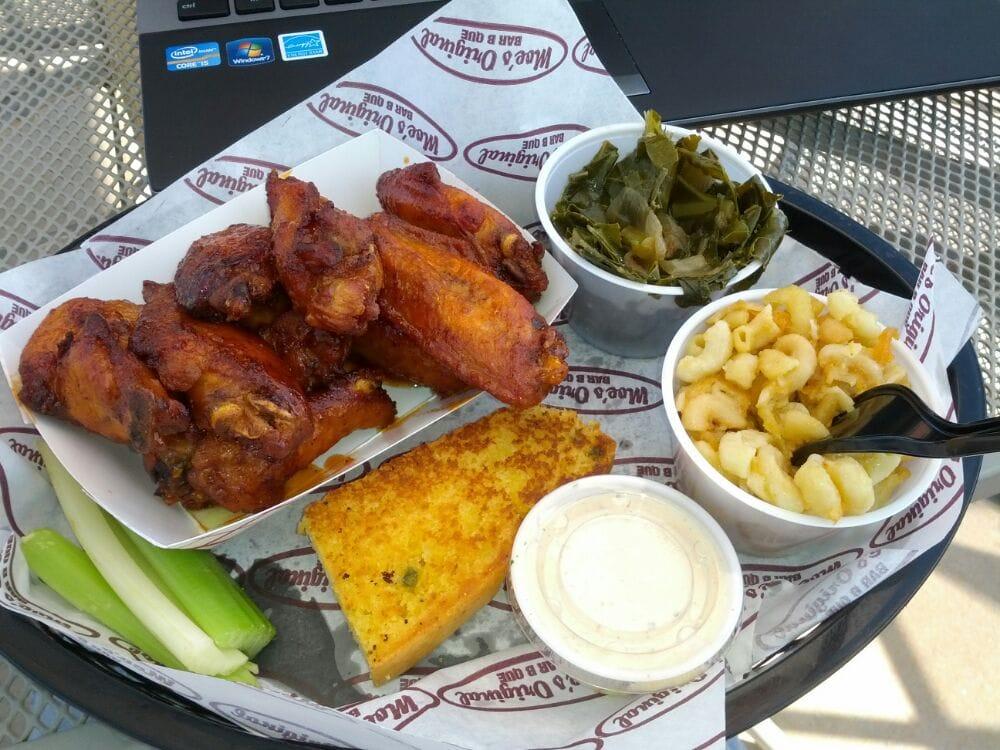 Smoked wings mac n cheese collard greens and cornbread for Food bar vestavia