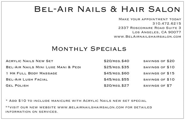Monthly specials yelp for Salon bel air