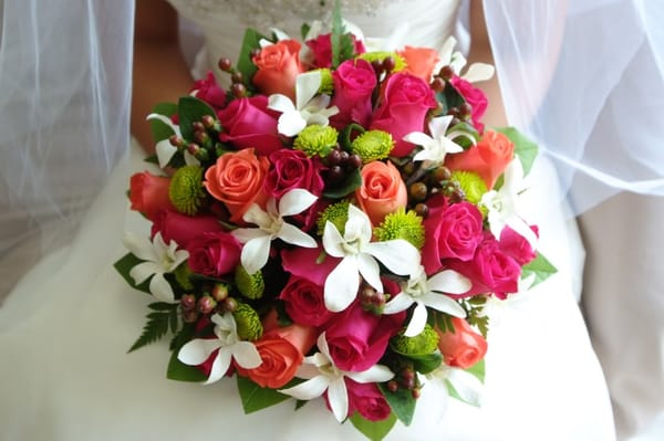 Aberdeen Wedding Flowers Chicago : Bridal bouquet deep pink and coral roses with green