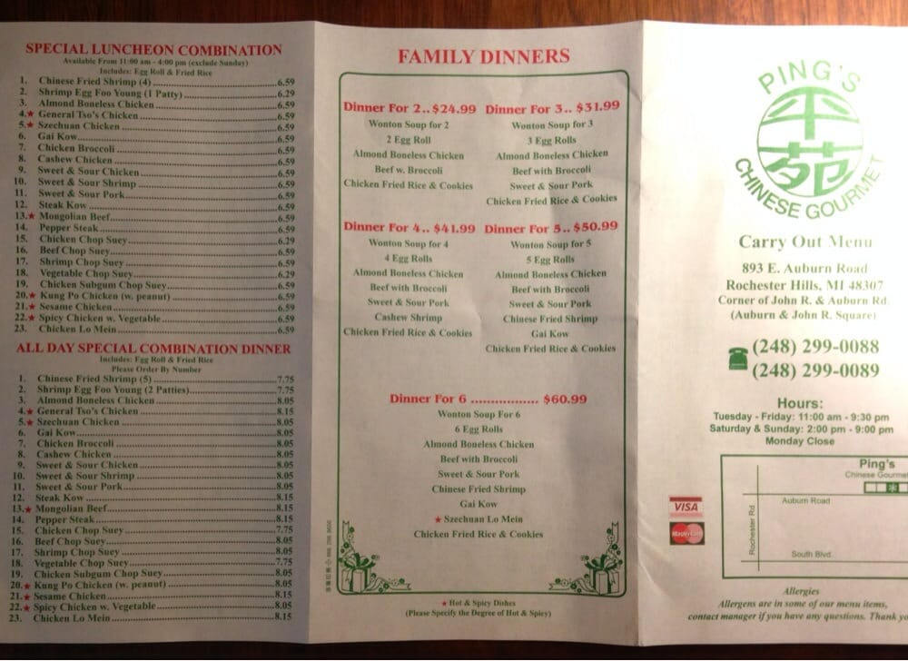 Pings chinese food menu for China garden restaurant detroit mi