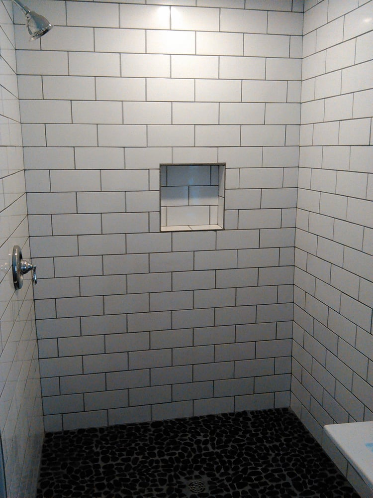 4x10 White Subway Tiles With Pewter Grout And Pebble Floor Built In Shower Niche Yelp