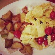 Caprese scramble special (eggs tomato,…