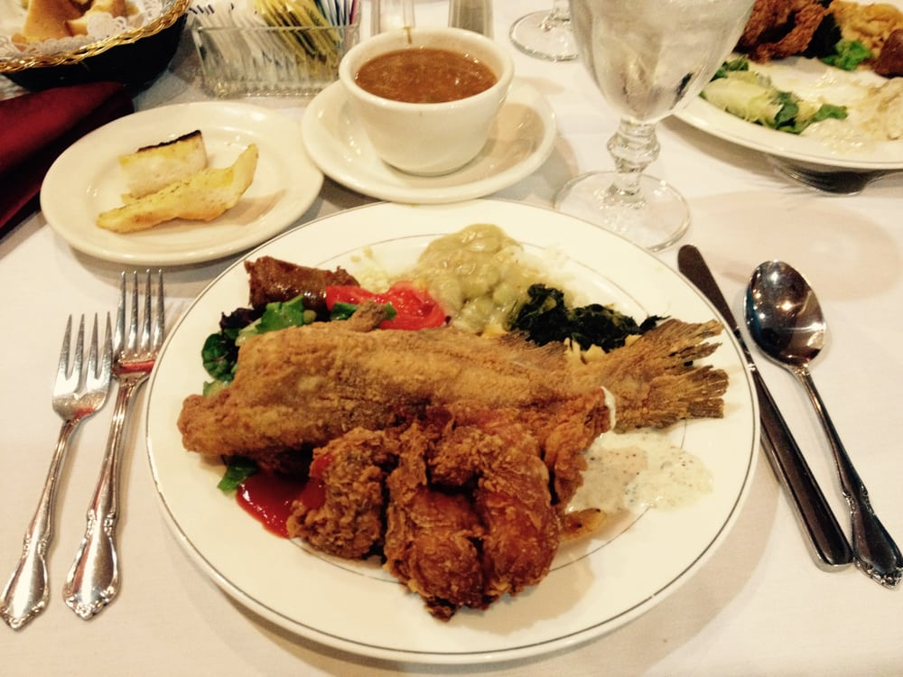 ... States. Buffet: fried chicken, fried catfish, greens, and sausage
