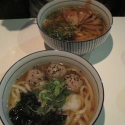 udon with chicken and ginger meatballs, udon with duck