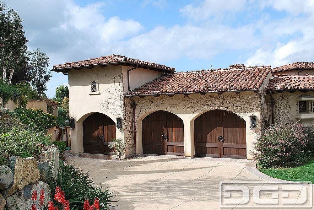 Tuscan Style Garage Doors In Wire Brushed Western Red