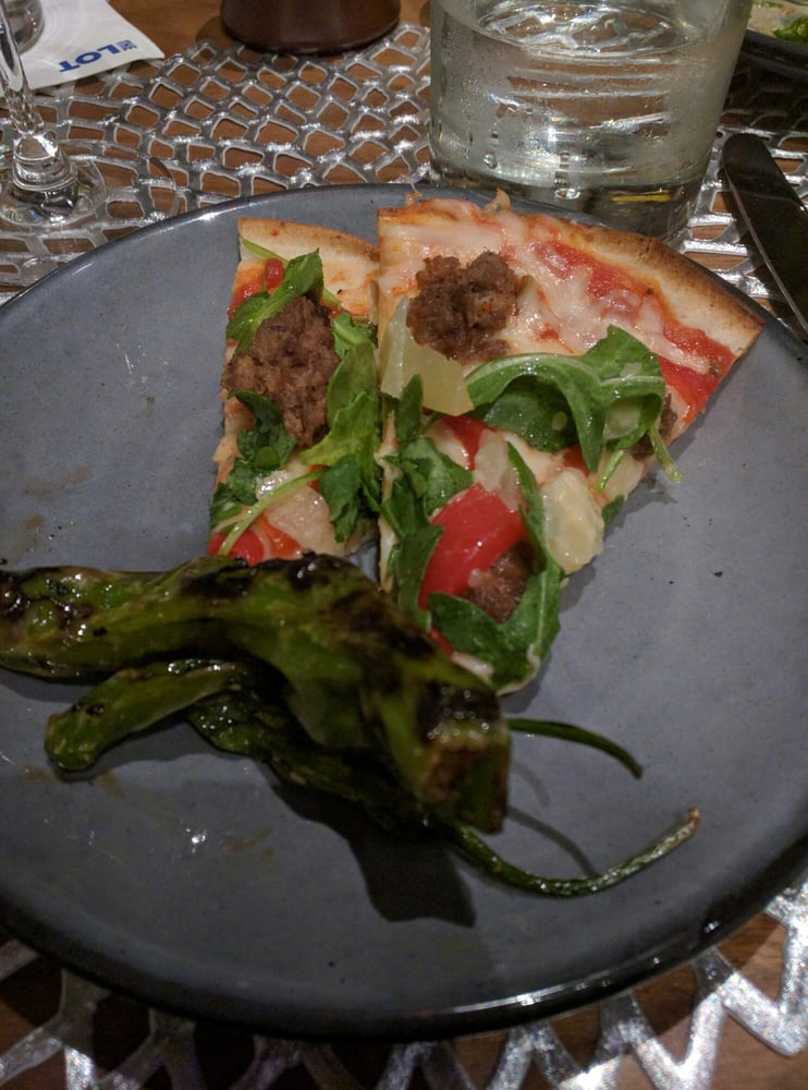 ... States. Roasted mushroom flat bread with charred shishito peppers