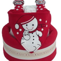 2 Tier Snowman Christmas Nappy Cake