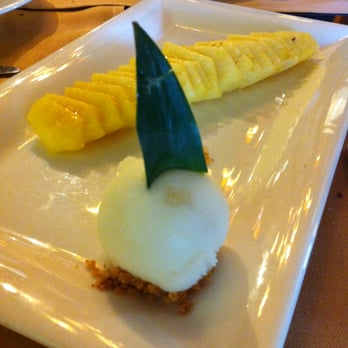 Pineapple and lemon sorbet... with chunks of lemon peel in the sorbet.. yum!