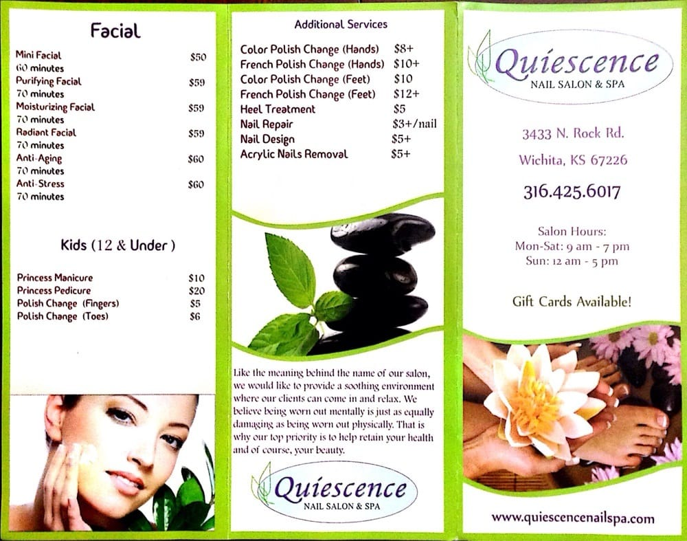 Quiescence nails salon spa brochure yelp for Nail salon brochure