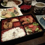 Chicken teriyaki bento box for dinner and veggie tempura. Check out the size of that green tea omg